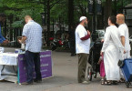 Uptown Information Table @ intersection Trade St and Tryon St  06-12-2014