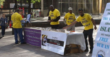 Uptown Information Table @ intersection Trade St and Tryon St  10-16-2014